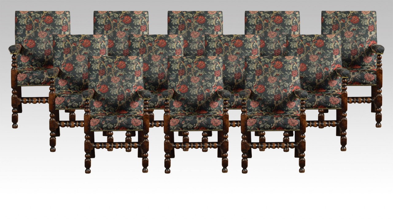 Outstanding Set Of Twelve Jacobean Oak Dining Chairs Bralicious Painted Fabric Chair Ideas Braliciousco