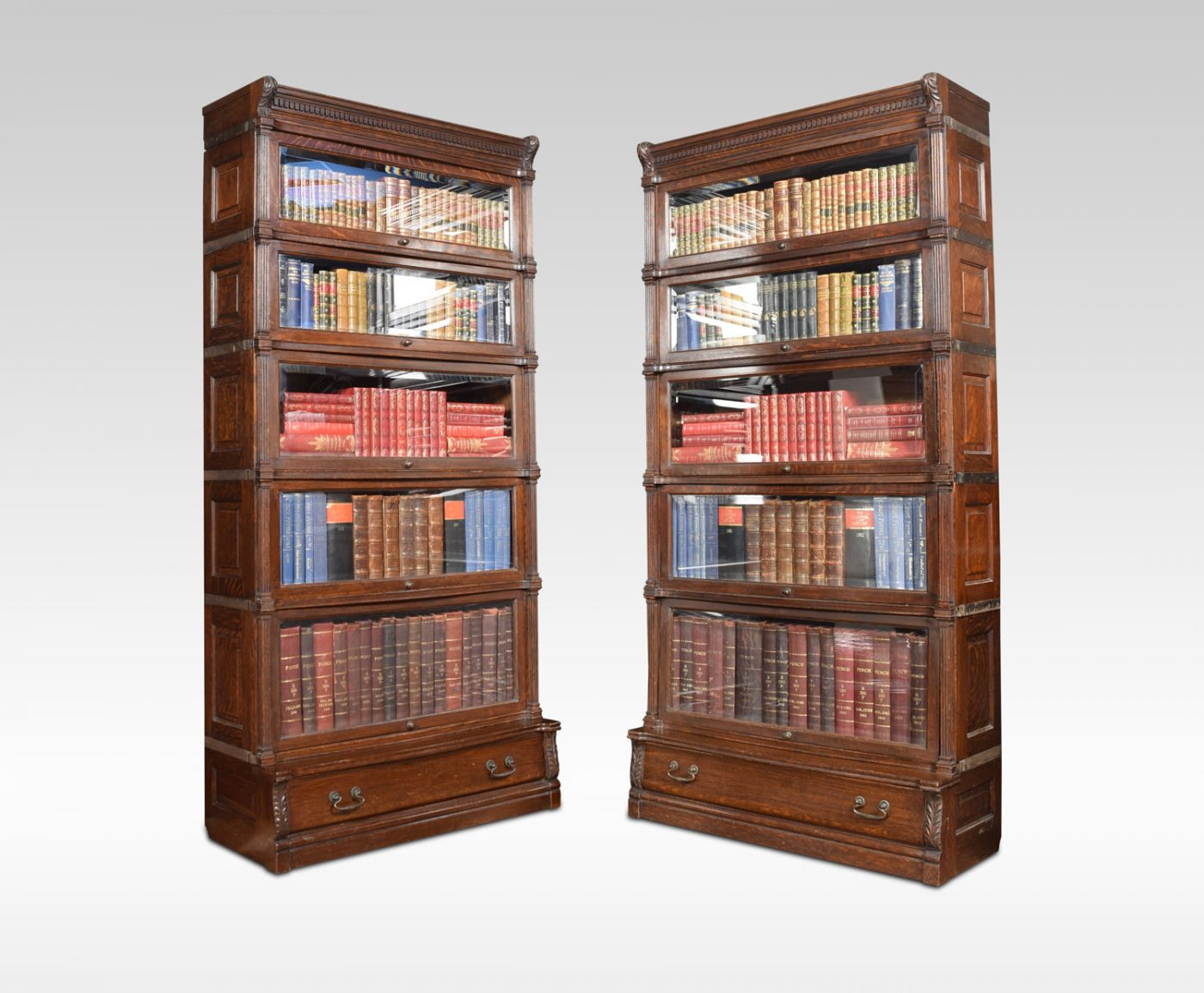 Pair Of Oak Globe Wernicke Five Sectional Bookcases